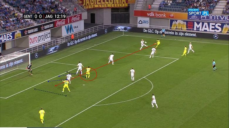 Screen z meczu KAA Gent - Jagiellonia Białystok