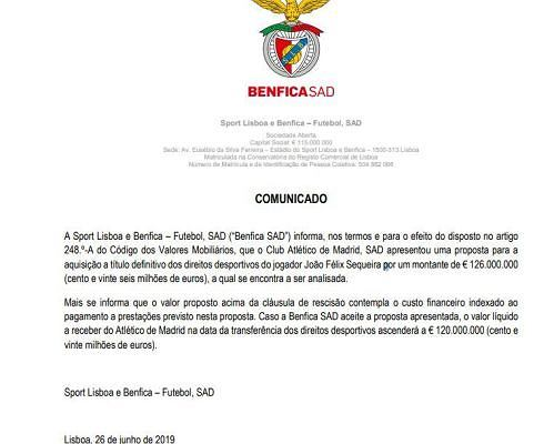 Oficjalny komunikat Benfiki ws. transferu Felixa