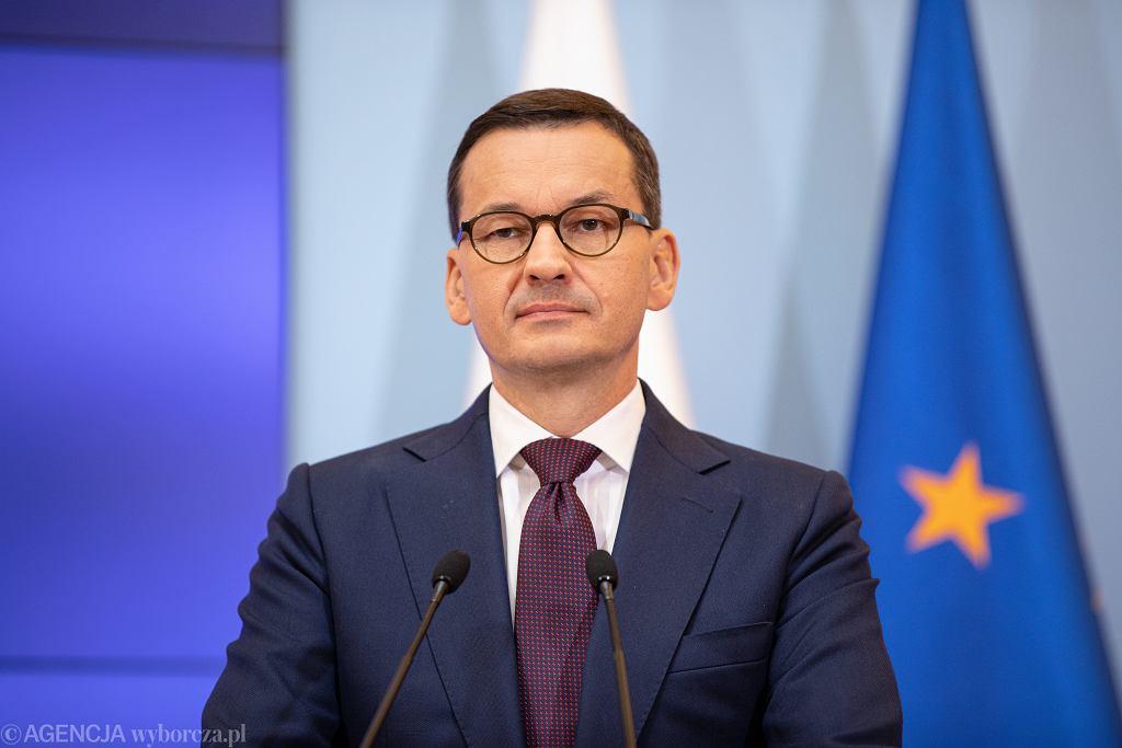 24.09.2019 Warszawa , Kancelaria Prezesa Rady Ministrów . Premier Mateusz Morawiecki podczas konferencji prasowej .