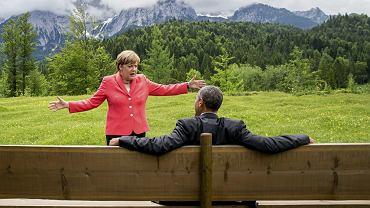 Czerwiec 2015, hotel Schloss Elmau pod Garmisch-Partenkirchen. Angela Merkel i Barack Obama gawędzą w chwili przerwy podczas szczytu G7 - kluczowych państw świata