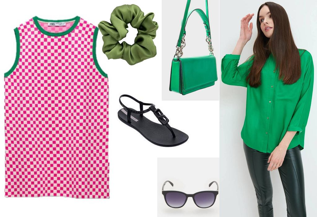 Sukienka, gumka do włosów, sandałki, koszula, okulary przeciwsłoneczne
