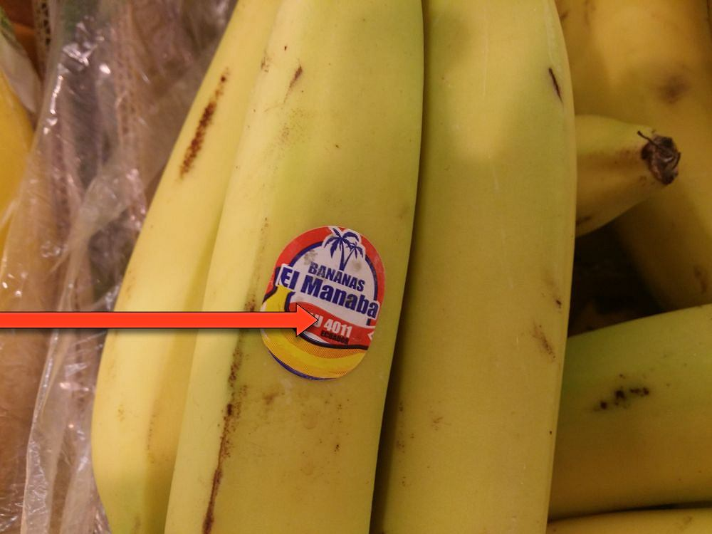 Banany - naklejka z kodem PLU