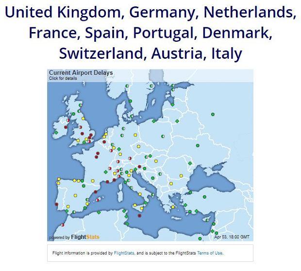 Mapa opóźnionych lotów w Europie - 3 marca 2018