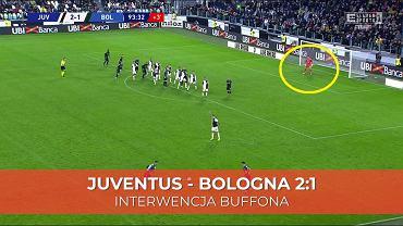 Interwencja Gianluigiego Buffona w meczu z Bologną