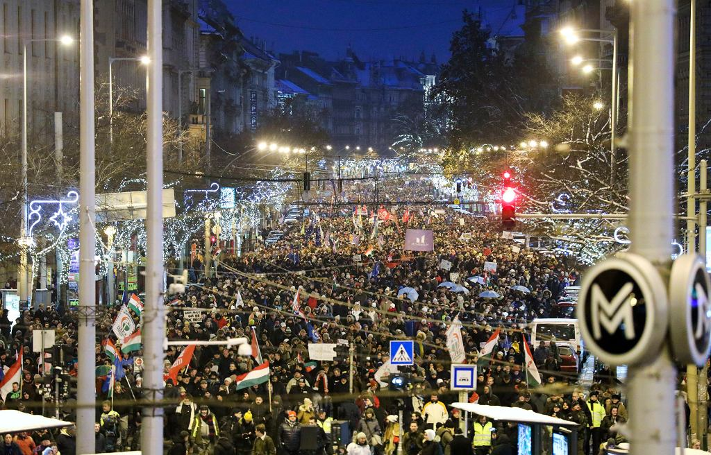 Węgry. Protesty w Budapeszcie