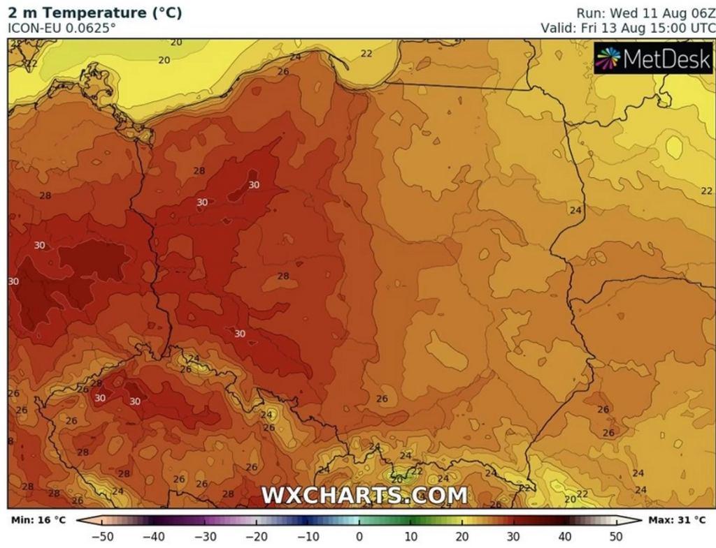 Prognoza temperatury na 13 sierpnia (15:00)