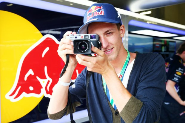 SPIELBERG, AUSTRIA - JUNE 21:  Gregor Schlierenzauer poses in the Infiniti Red Bull Racing garage during final practice ahead of the Austrian Formula One Grand Prix at Red Bull Ring on June 21, 2014 in Spielberg, Austria.  (Photo by Mark Thompson/Getty Images) *** Local Caption *** Gregor Schlierenzauer