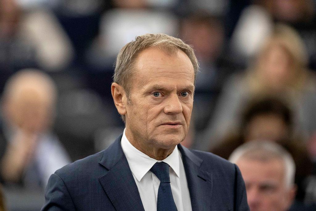 przewodniczący Rady Europejskiej Donald Tusk podczas obrad w Strasburgu, 22 października 2019