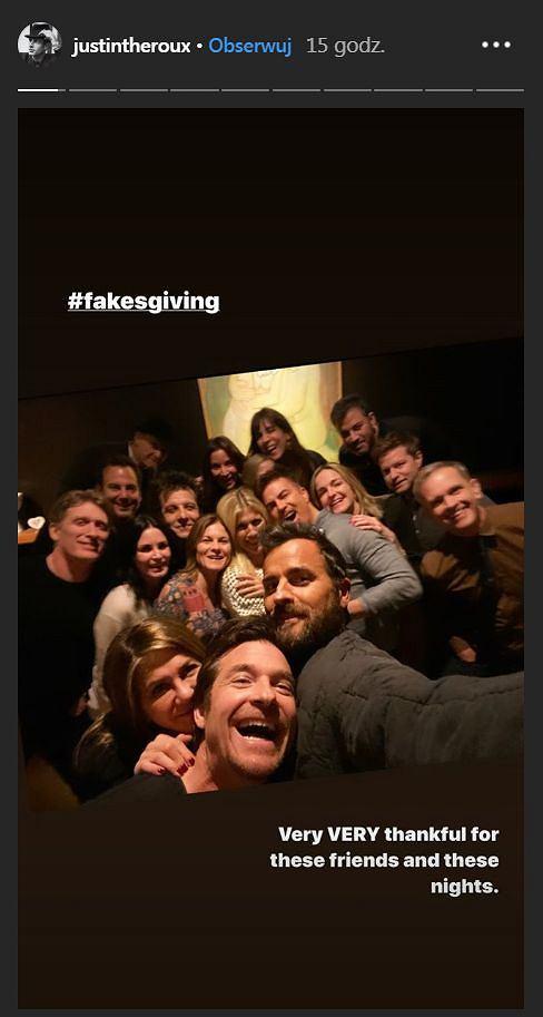 Jennifer Anistion zrobiła przyjęcie dla przyjaciół na którym był Justin Theroux