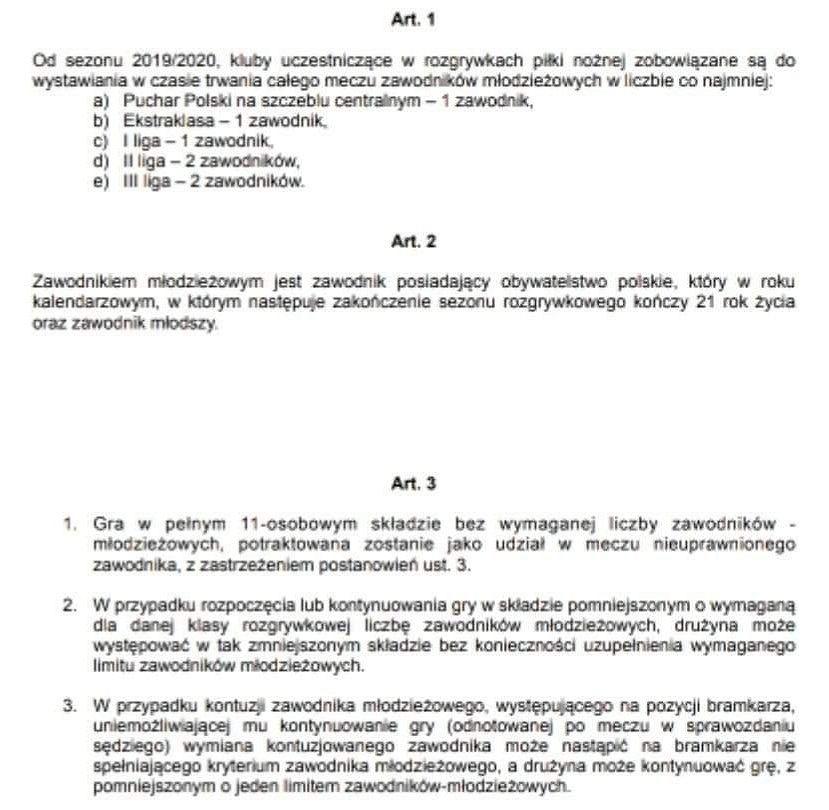Przepisy dotyczące konieczności używania jednego młodzieżowca w składzie drużyny w I lidze