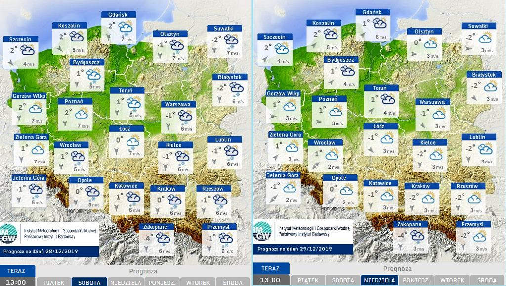 Prognoza pogody na weekend 28-29.12