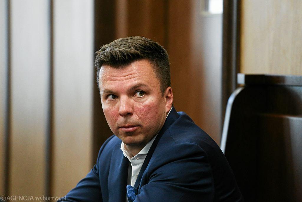 Marek Falenta podczas rozprawy w Sądzie Okręgowym w Warszawie.