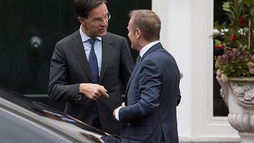 Breixt. Premier Holandii Mark Rutte na spotkaniu z Donaldem Tuskiem, szefem Rady Europejskiej, Haga, 15 marca 2019