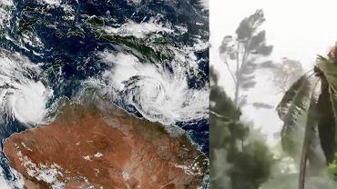 Kolaż zdjęć - zdjęcie satelitarne przedstawiające dwa cyklony u wybrzeży Australii oraz kadr z nagrania udostępnionego przez Policję w Queensland