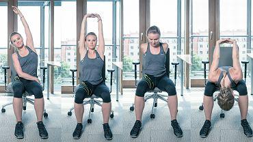 Ćwiczenie 1. Usiądź na brzegu krzesła, oprzyj całe stopy na podłodze. Wyciągaj ciało do boków - raz w prawo, raz w lewo, następnie do góry. Potem dociśnij pośladki do siedzenia. Barki powinny być opuszczone (nie przyciągaj ich do uszu) i ciągnąć ciało do dołu. Trzymaj rozluźnioną szyję i poruszaj nią na boki. Następnie spleć dłonie za plecami i wypchnij klatkę piersiową do przodu - pracując przed komputerem, zazwyczaj przykurczamy klatkę, a ta pozycja 'otworzy' jej wewnętrzną część. Następnie zrób skłon do przodu, jakbyś chciała nurkować. Rozluźnij szyję. Trzymaj wklęsłe plecy.