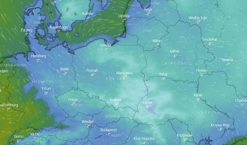 Spadek temperatur w Polsce w poniedziałek 1 lutego.