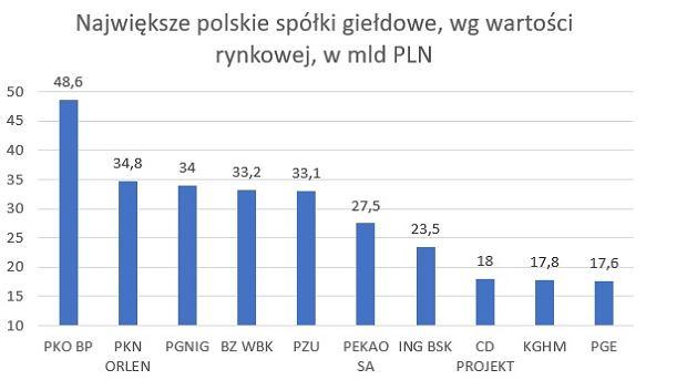 Największe polskie spółki giełdowe, wg wartości rynkowej