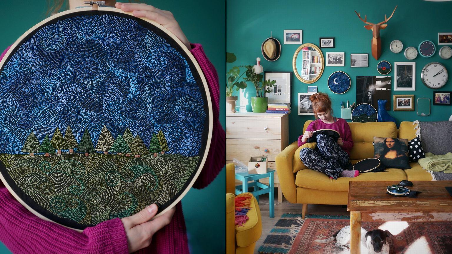 Kaja w sieci jest znana jako Na(Nie)Wymiar Embroidery. Klienci porównują jej malowane igłą tamborki do dzieł Van Gogha
