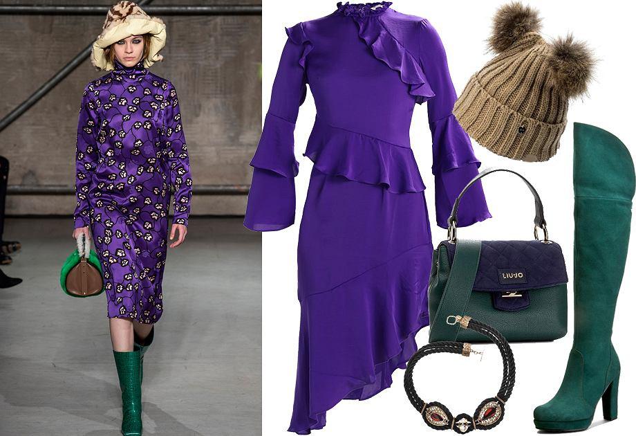 Fioletowa sukienka - stylizacja Ultra Violet