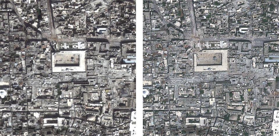 ade3f90a7ff1de Przed i po bombardowaniu. Pogrążone w chaosie wojny Aleppo na zdjęciach  satelitarnych