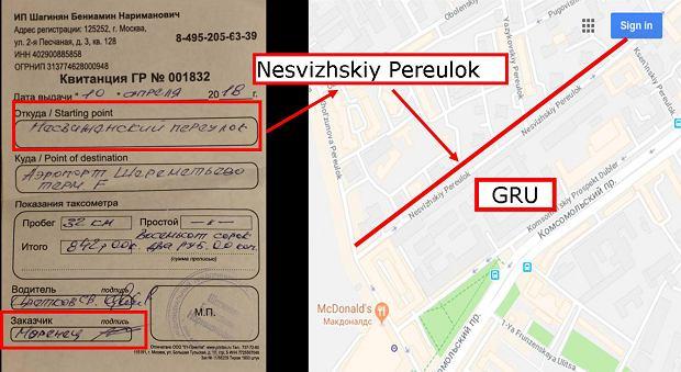 Zdjęcie rachunku z taksówki i miejsce, w którym zaczął się kurs. Uliczka na tyłach siedziby cyberjednostki GRU
