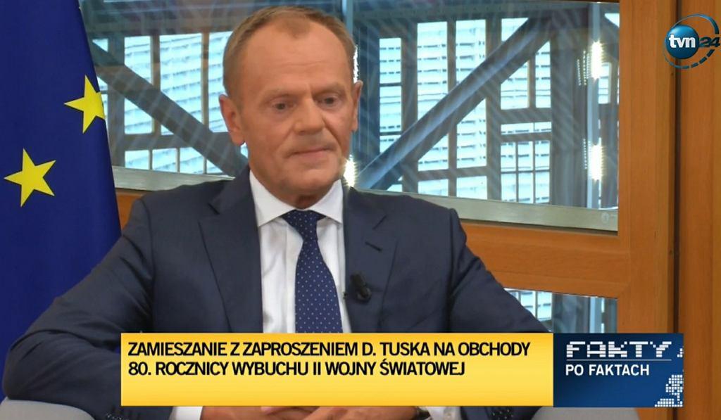 Donald Tusk w w Faktach po Faktach TVN/Zrzut ekranu w tvn24.pl