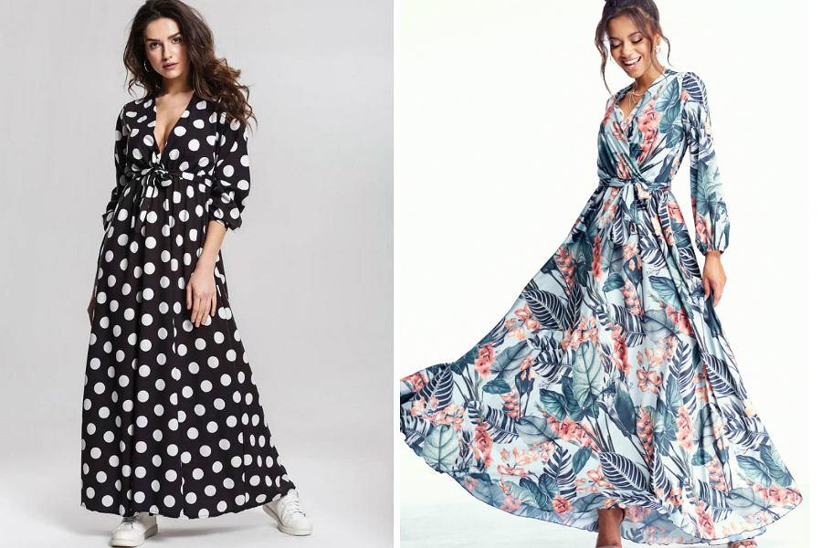 długie sukienki we wzory