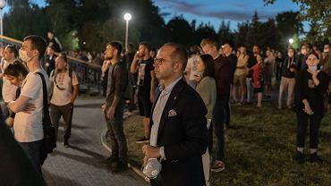 Poseł Michał Szczerba podczas protestów po sfałszowanych wyborach prezydenckich na Białorusi. Mińsk, Białoruś, 9 sierpnia 2020