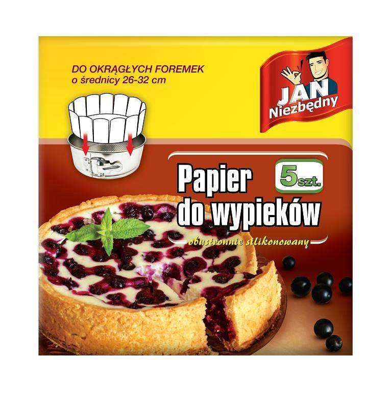 Jan Niezbędny, papier do wypieków do okrągłych foremek 5szt., cena ok. 3,80 PLN