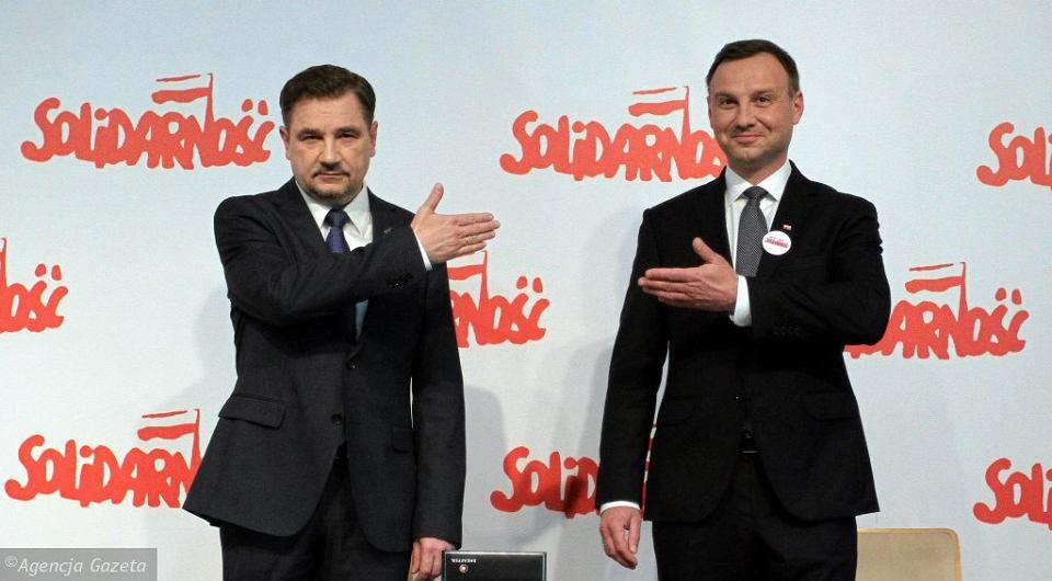Przewodniczący NSZZ 'Solidarność' Piotr Duda i prezydent RP Andrzej Duda