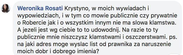 Weronika Rosati komentuje uwagi Krystyny Demskiej-Olbrychskiej