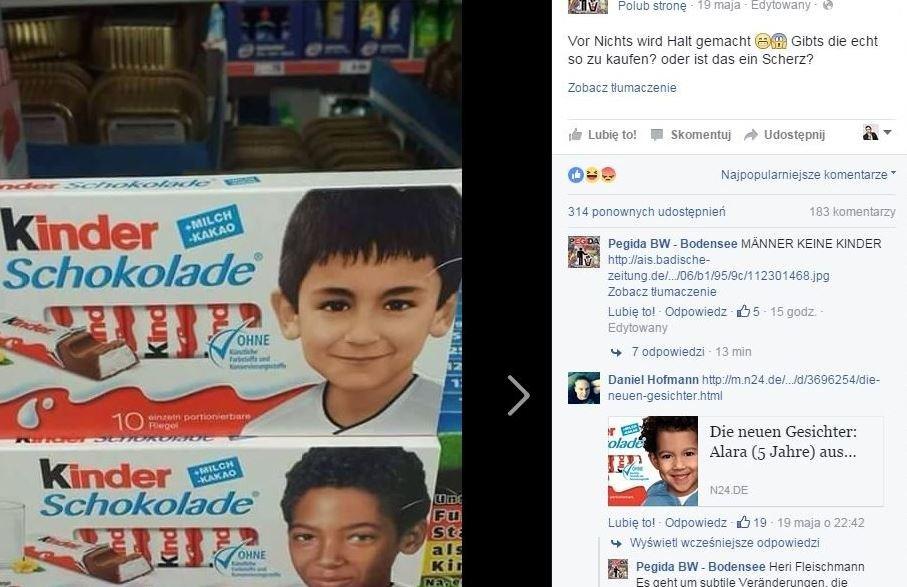 Skrajnie prawicowa Pegida oburzyła się zdjęciami ciemnoskórych dzieci na pudełkach czekoladek.
