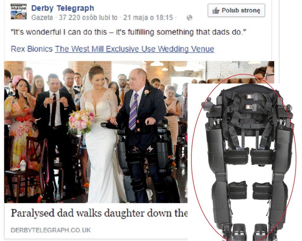 Wpis Derby Telegraph na Facebooku opisujący ślub, na którym pannę młodą do ołtarza poprowadził sparaliżowany ojciec