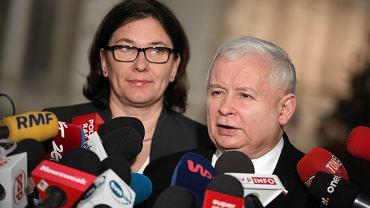 Jarosław Kaczyński podczas konferencji prasowej w Sejmie