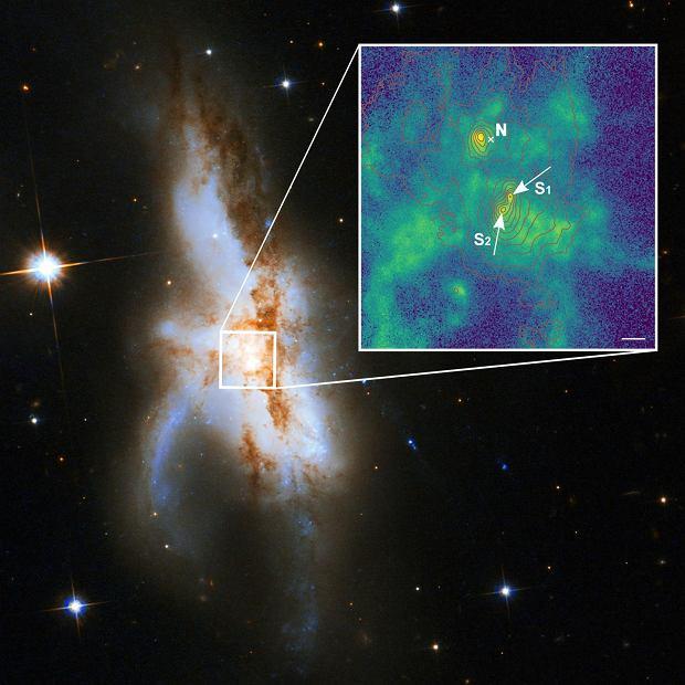 Trzy czarne dziury znajdujące się w centrum NGC 6240