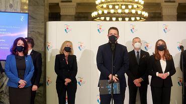 Konferencja prasowa Rafała Trzaskowskiego przedstawiającego nowy zarząd Warszawy
