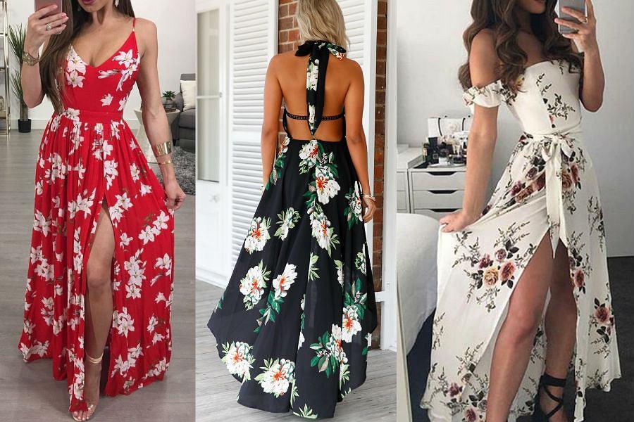 Zjawiskowe sukienki maxi we wzory