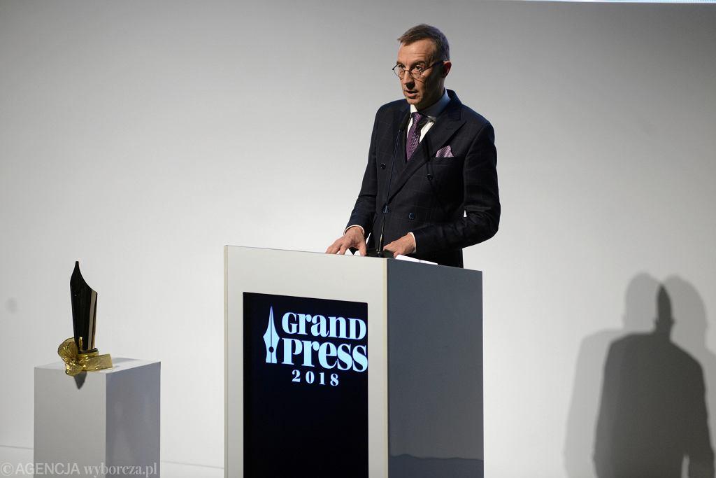 Andrzej Skworz podczas gali przyznania nagrody Grand Press, 2018 r.