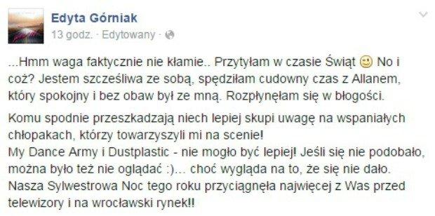 Edyta Górniak komentuje