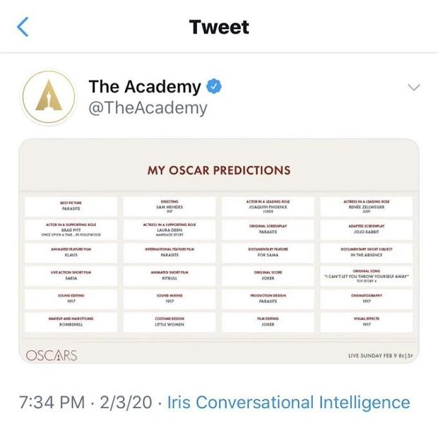 Typy zwycięzców Oscarów pojawiły się na koncie Akademii.