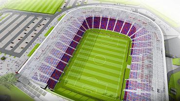 Wizualizacja stadionu Pogoni. Jeszcze tylko z trzema trybunami