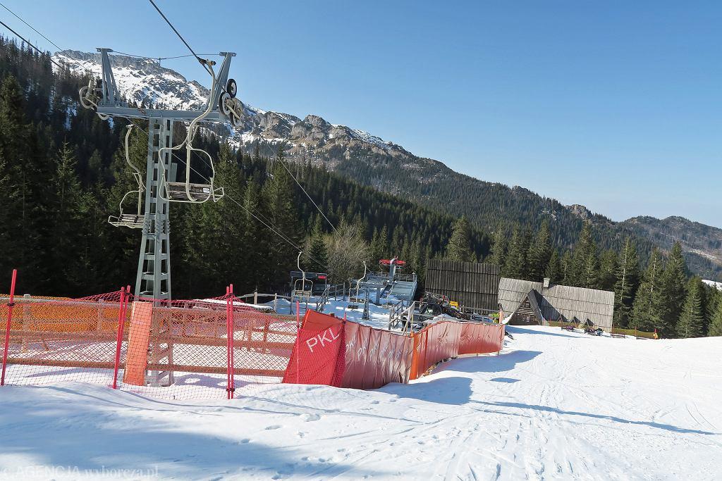 27.03.2020, nieczynne wyciągi w Tatrach.