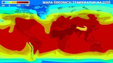Mapa średnich temperatur na świecie. Im ciemniejszy kolor, tym bardziej obecna średnia przekracza średnie standardowe.