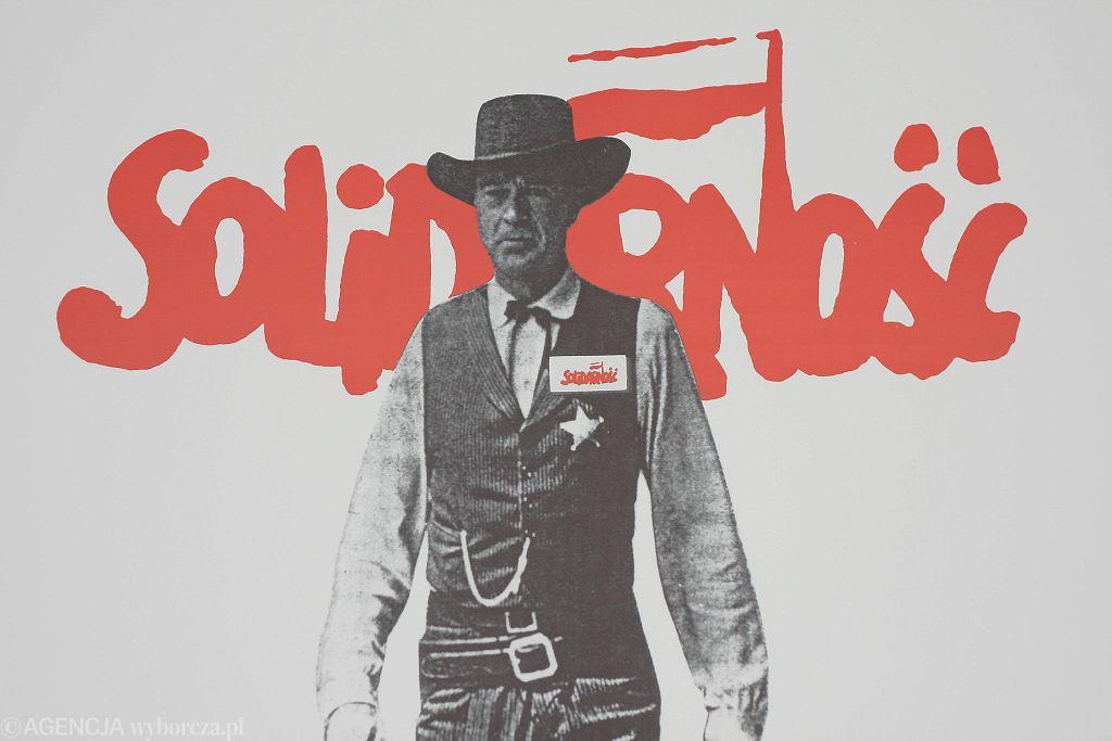 'W samo południe'. Plakat wykorzystywany przez Solidarność w czasie kampanii przed wyborami w 1989 r.