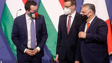 Premier Polski Mateusz Morawiecki, premier Węgier Viktor Orban i premier Włoch Matteo Salvini.