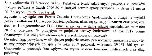 Fragment uzasadnienia ustawy okołobudżetowej