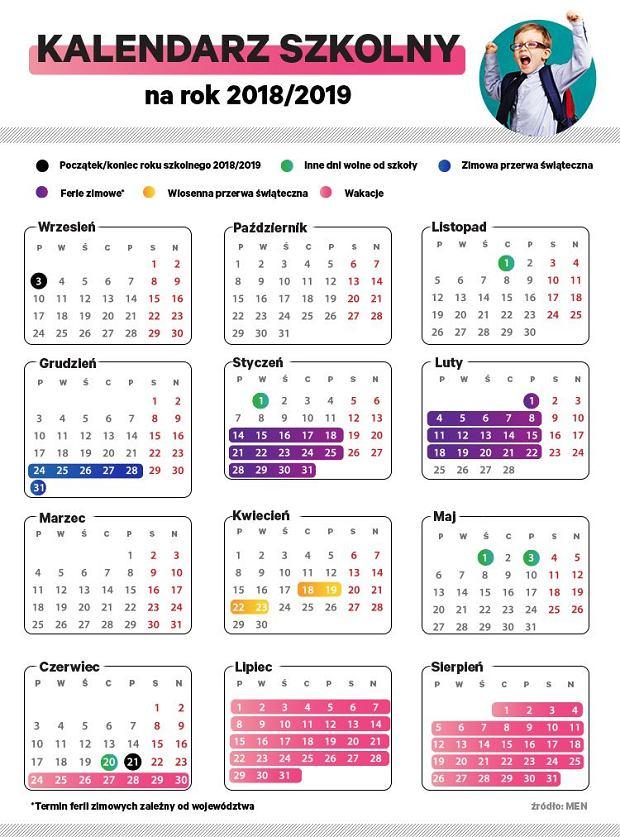 Kalendarz roku szkolnego 2018/2019