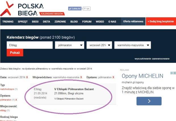 Kalendarz Biegów PolskaBiega.pl
