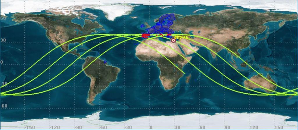 Przewidywane ścieżki orbitalne dla rakiety 'Długi Marsz'