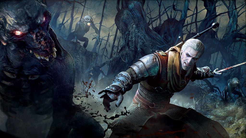 Wiedźmin Geralt w trakcie walki - kadr z gry 'Wiedźmin: Dziki Gon' (fot. CD Projekt RED)